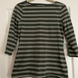 Army green and white striped boat neck top